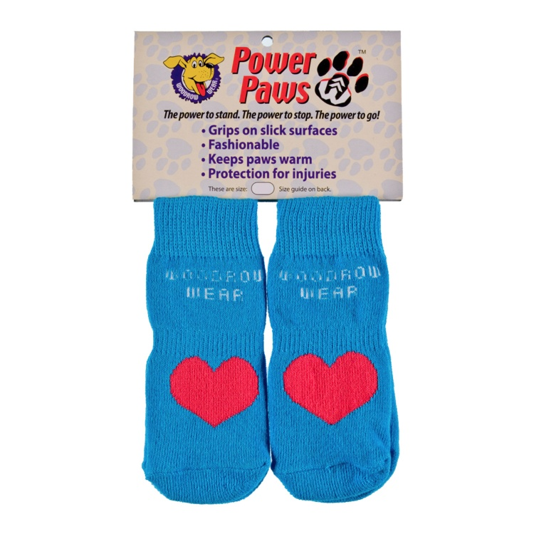 Power Paws Non-Slip Socks (Blue with Pink Heart)