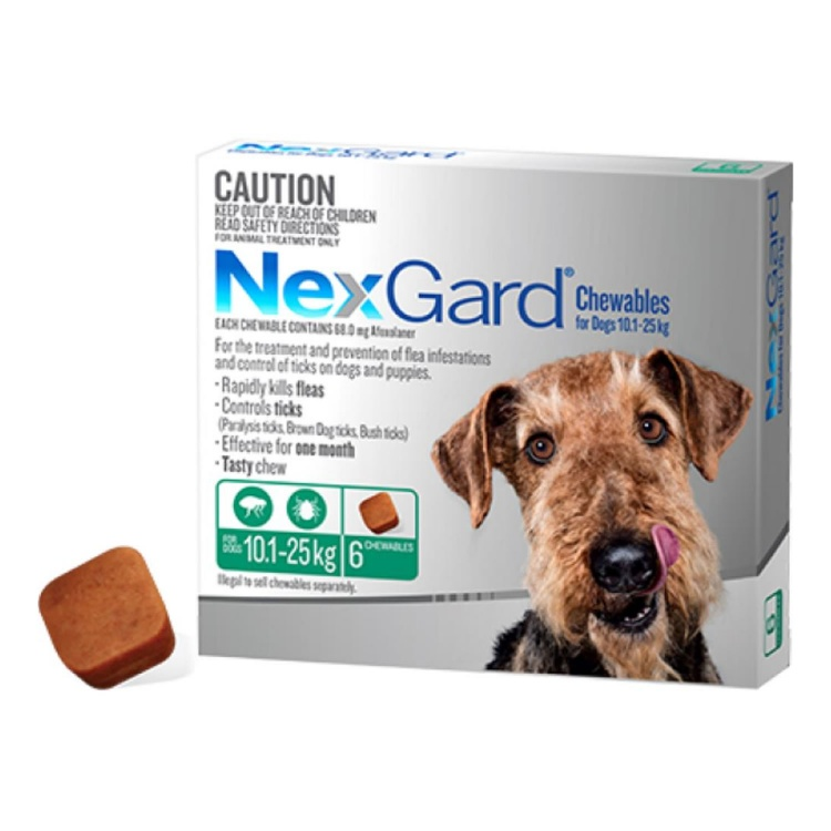 NexGard® Chewables for Medium Dogs 10.1-25kg (Green)