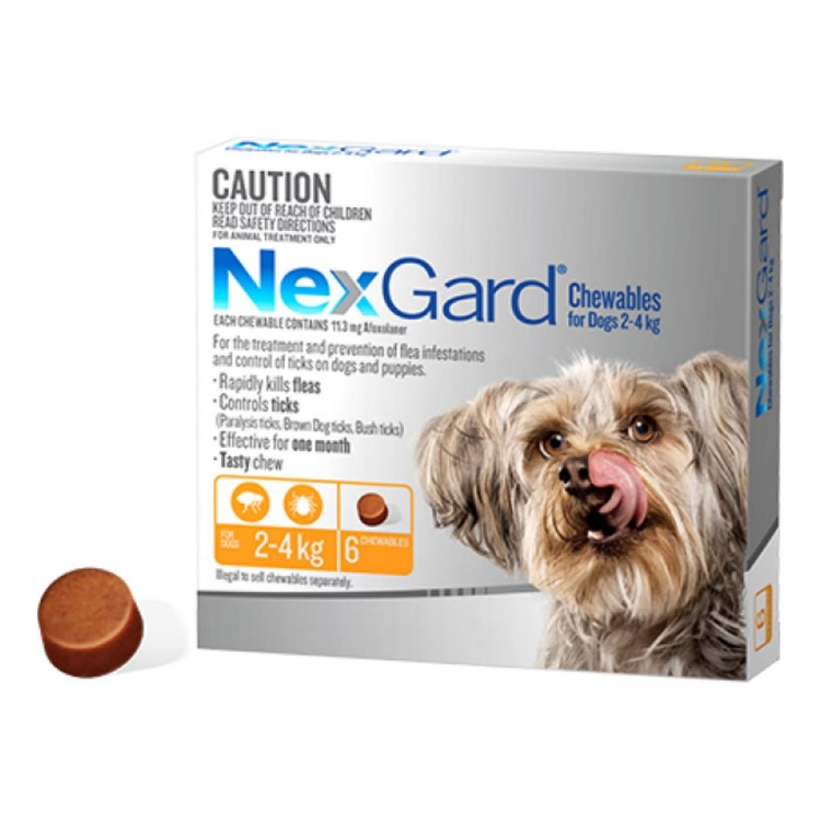NexGard® Chewables for Very Small Dogs 2-4kg (Orange)
