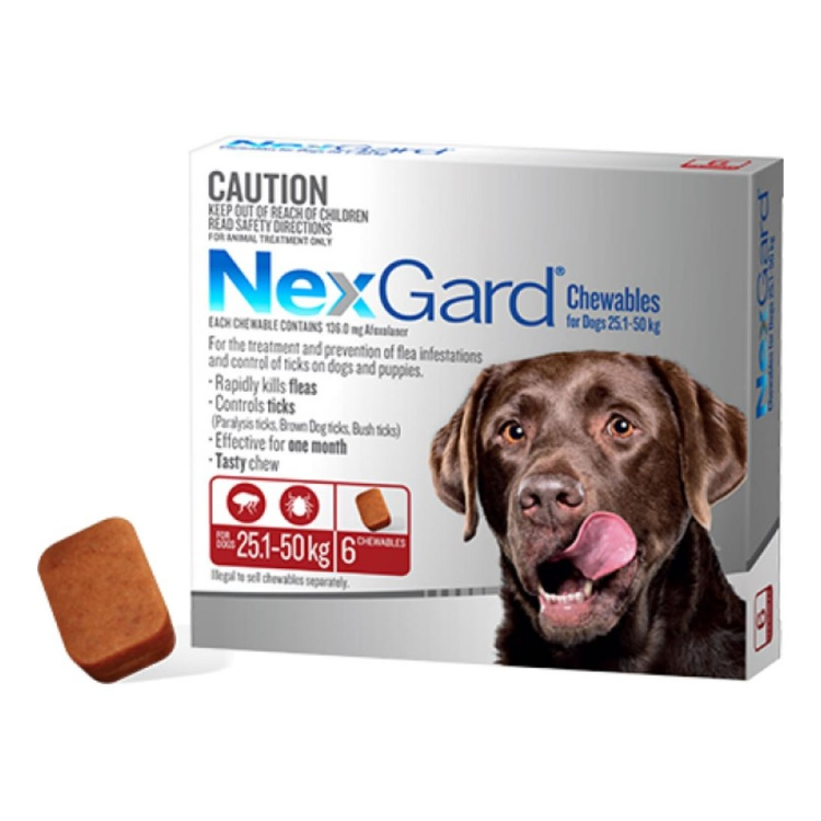 NexGard® Chewables for Large Dogs 25.1-50kg (Red)