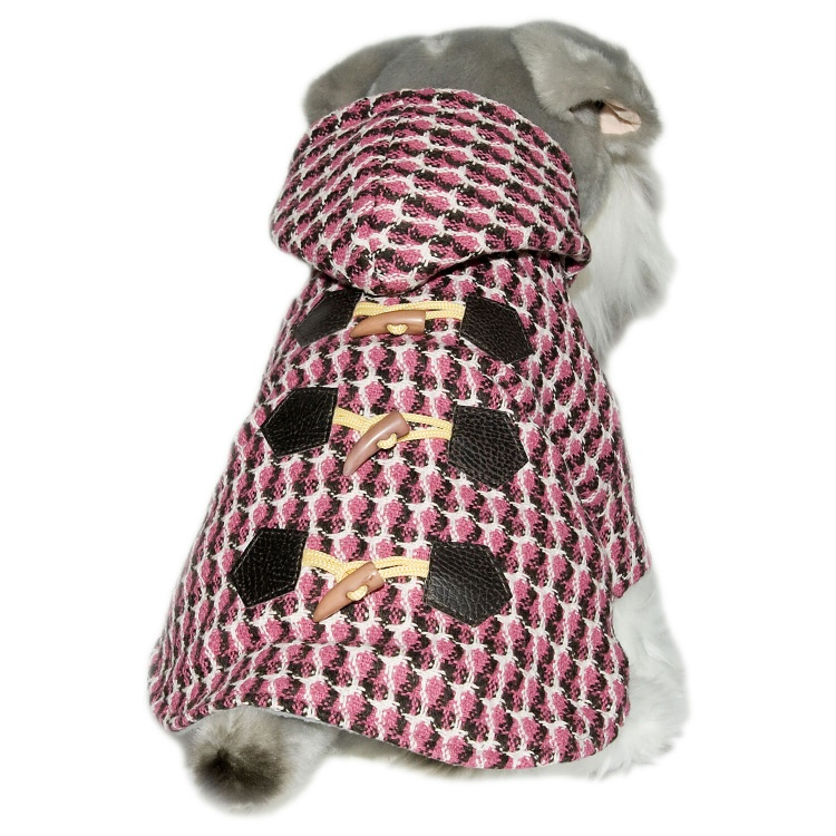 Houndstooth Duffle Jacket with Hoodie