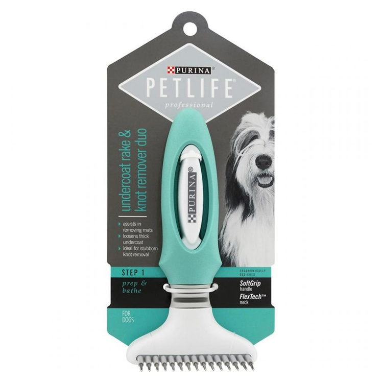 PETLIFE Professional Undercoat Rake and Knot Remover Duo