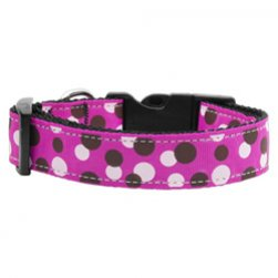 Polka Dot Nylon Collar (Fuschia)